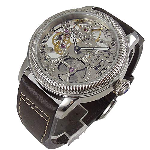 Parnis 44mm Silver Hollow Skeleton Dial Mineral Glass 17 Jewels Seagull 6497 Hand Winding Movement Men's Wrist Watch