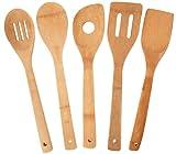 JapanBargain 5 Piece Bamboo Utensil Set Spatula Spoon Turner