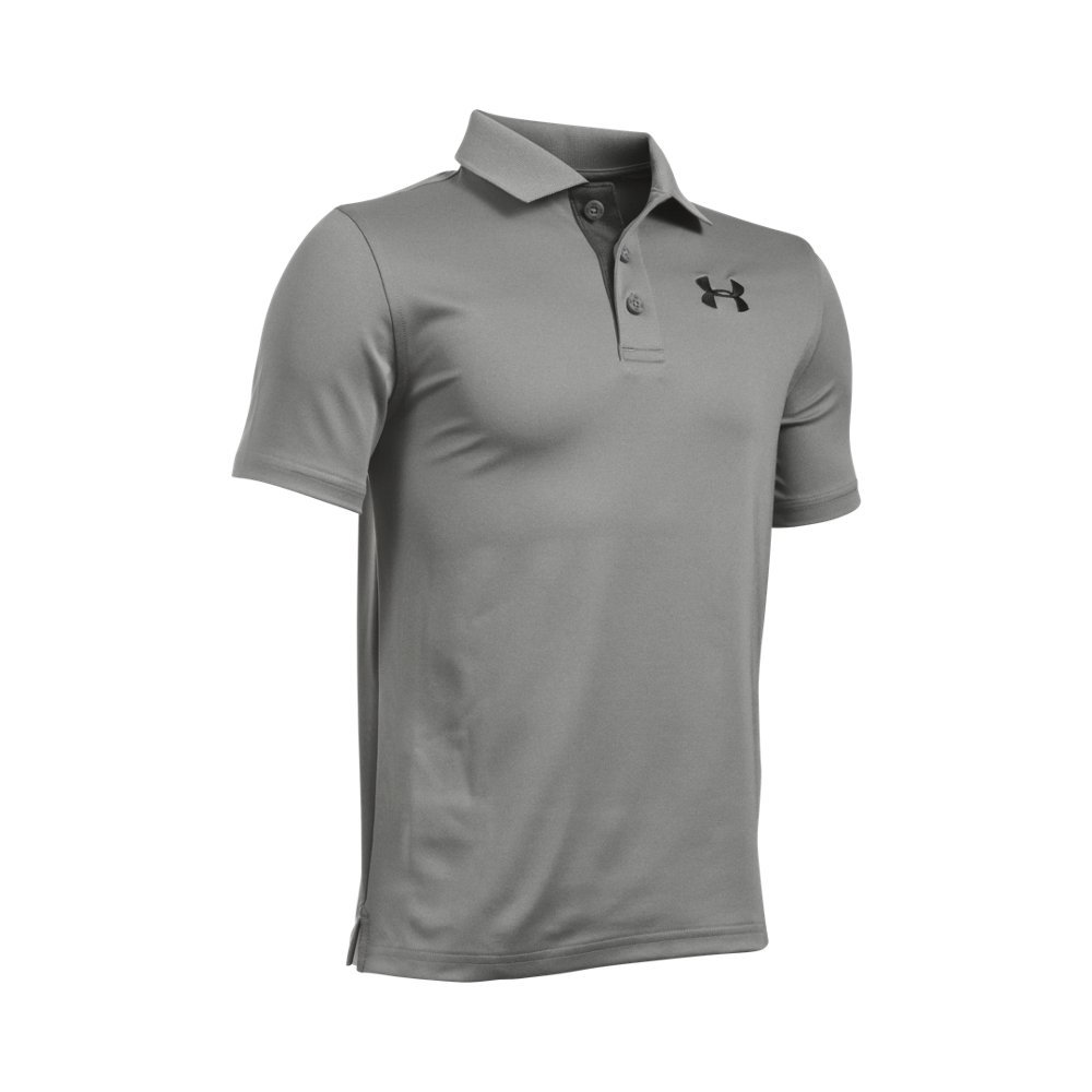 Under Armour Boys' Match Play Polo, True Gray Heather/Black, Youth X-Small