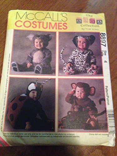 [McCall's 8897 Sewing Pattern, Tom Arma Toddlers' Costumes, Lady Bug, Dalmatian, Koala, Monkey, Size 4] (Tom Arma Monkey Costumes)