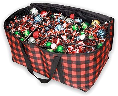 Borsa decorativa per ghirlande di albero di Natale,decorazioni per albero di Natale, decorazioni per palle ornamentali, con divisori in cartone