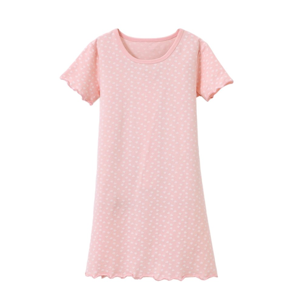 YuanDiann Girls Kids Summer Cotton Nightgowns Short Sleeves Round Neck Printing Toddler Pyjamas Nightwear Sleepwear Nighties Children Nightdresses