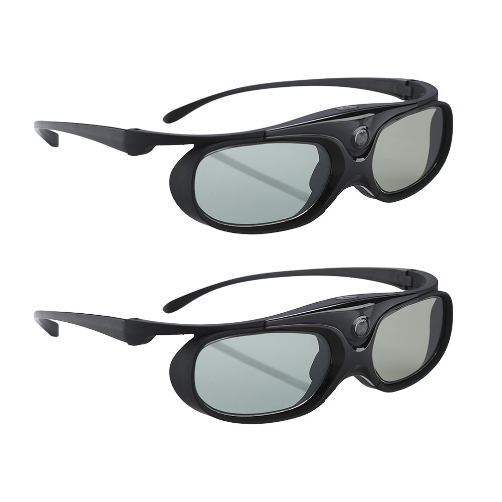 BOBLOV Active Shutter 3D Glasses DLP-Link USB Blue For BenQ W1070 W700 Dell Projector (Black- 2Pack)