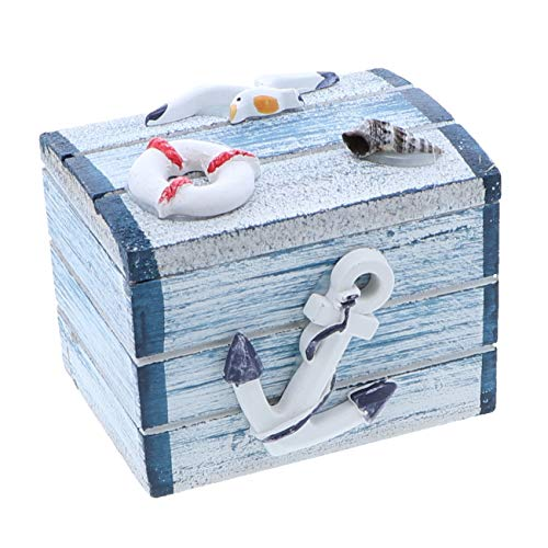 SandT Collection Anchor 3 Inch Nautical Theme Treasure Chest Trinket Box -