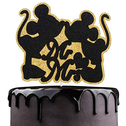 Disney Wedding Cake Toppers (Mr Mrs Wedding Cake Topper - Disney Mickey Minne Mouse Kissing Cake Décor - Wedding Reception Groom Bridal Shower - Valentine's Day Gifts)