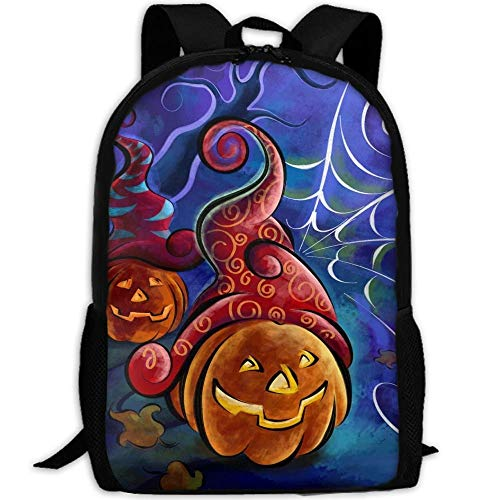 Halloween Pumpkins And Spider Web Drawing Print Custom Casual School Bag Backpack Multipurpose Travel Daypack For -