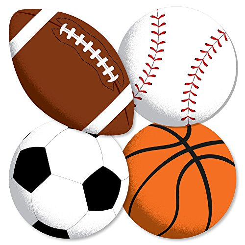 Go, Fight, Win - Sports - Basketball, Baseball, Football & Soccer Ball Decorations DIY Baby Shower or Birthday Party Essentials - Set of 20]()