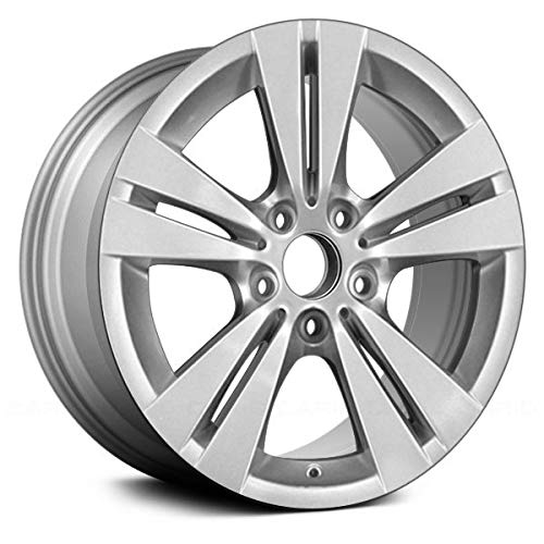 Replacement 5 Double Spokes All Painted Silver Factory Alloy Wheel Fits BMW 5-Series