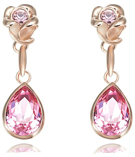 FAPPAC Flower Dangle Earrings Enriched with Swarovski Crystals - 18k Rose Gold Plated - Pink