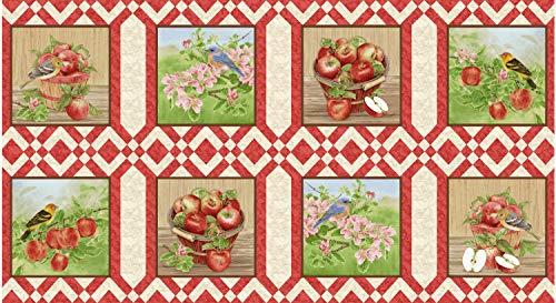 Apple Festival, 23-inch Panel, Beautifully Illustrated, 8-inch Blocks, Apples, Blossoms, Birds, Baskets, Henry Glass Fabrics, 1517-48