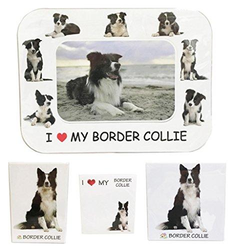 Border Collie Accessories (I Love My Border Collie Magnet Set (2 Metal Magnets, 1 Photo Frame, 1 Memo Pad))
