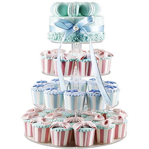 2018 New Style 4 Tiers Cupcake Stands Tower - Clear Acrylic Display Holder Tree - Tiered Cupcake Display- Tiered Round Pastry Stand Dessert Stands Wedding Cake Stands For Parties Birthday - DYCacrlic