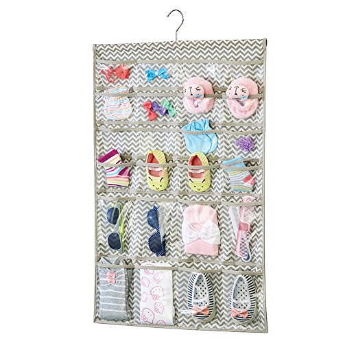 mDesign Chevron Fabric Baby Nursery Closet Organizer for Pacifiers, Hats, Bows, Shoes, Socks - Hanging, 48 Pockets, Taupe/Natural (Bow Organizer Hair)