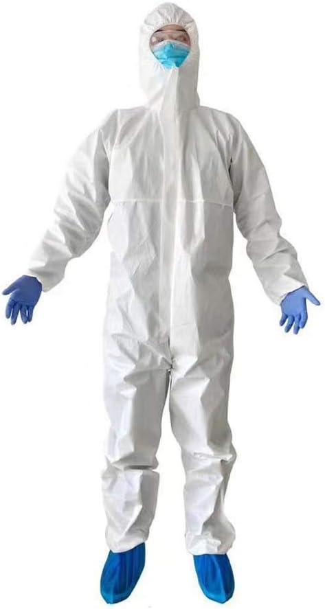 JXS Manguito elástico Blanco con Splash Resistente con Capucha (Grande) - Protección Completa del Cuerpo de Seguridad contra la Gripe - SMS desechable Aislamiento Vestido