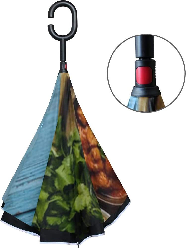 Double Layer Inverted Inverted Umbrella Is Light And Sturdy Chicken Tikka Masala Spicy Curry Meat Reverse Umbrella And Windproof Umbrella Edge Night