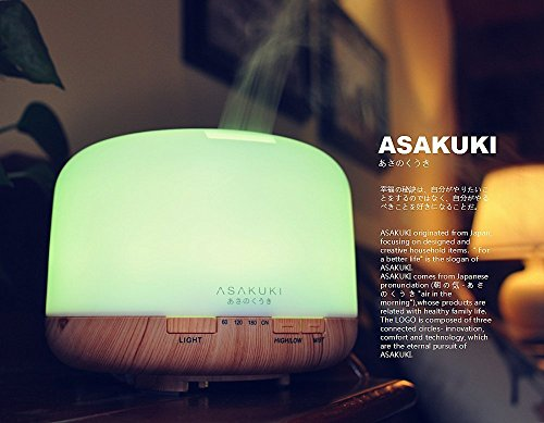 Large Product Image of ASAKUKI 500ml Premium, Essential Oil Diffuser, 5 In 1 Ultrasonic Aromatherapy Fragrant Oil Vaporizer Humidifier, Timer and Auto-Off Safety Switch, 7 LED Light Colors
