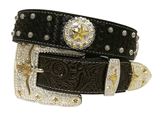 New Western Rhinestone Concho (New Mens Western Cowboy Cowgirl Gold Longhorn Texas Star Concho Shiny Leather)