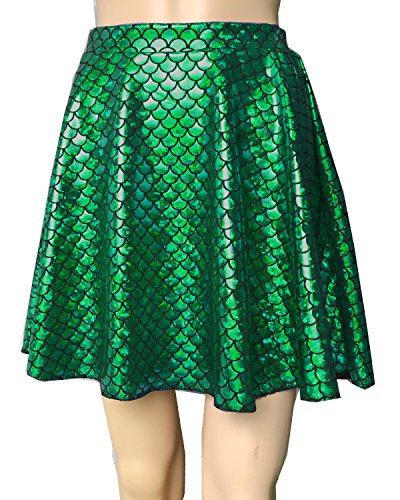 Mermaid Stretchy Fish Scale Print Flared Skater Mini Skirt Girls Women Adult (Green, XXL)