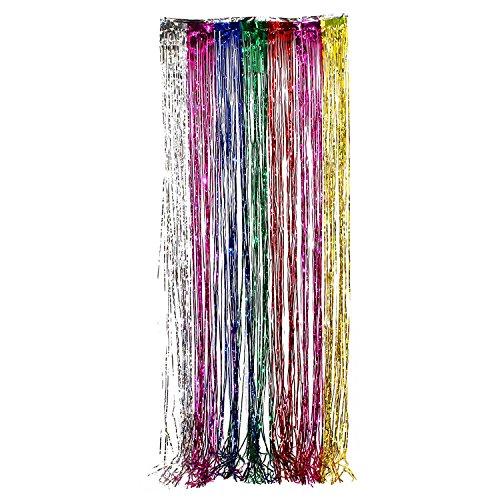 Tytroy Shimmer Door Curtains Fringe Metallic Foil Tinsel Packs 3'x8' (1, Rainbow)