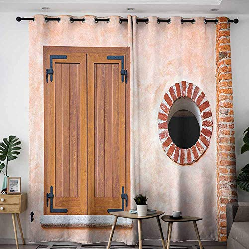 (Onefzc Home Curtains,Shutters Decor Collection Italian Style Old Window Renaissance Mediterranean Urban Life Style Photo Print,Grommet Curtains for Bedroom,W84x108L,Pink Brown Red)