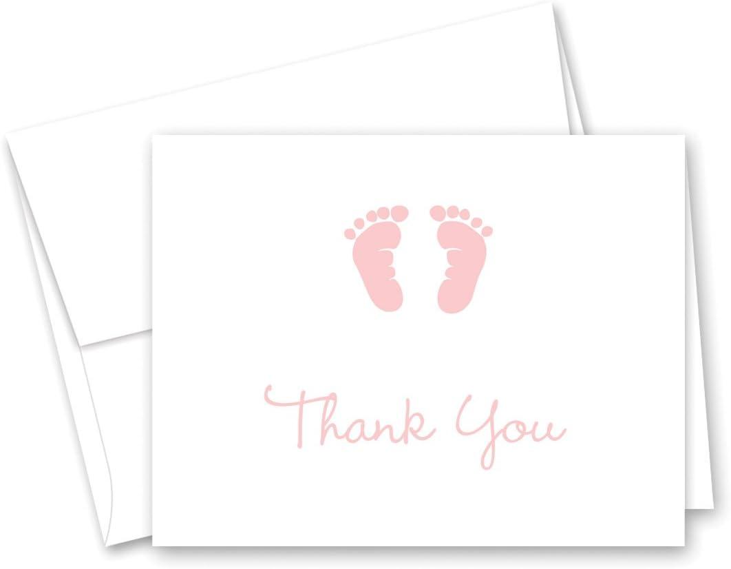 50 CNT 아기 발자국 소녀 베이비 샤워 감사 카드