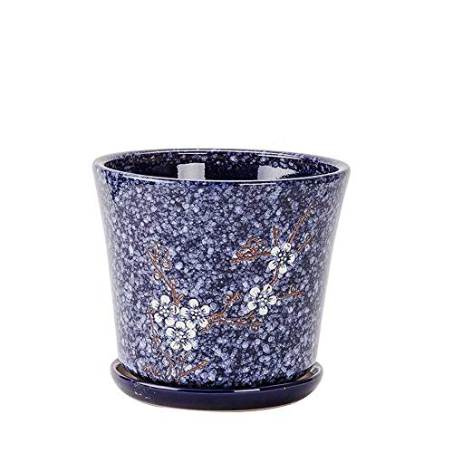 Medium Navy Blue Plum Blossom Tray Indoor Green Plant Container Potted Flower Pot, Garden Plantation Outdoor Indoor, Indestructible Ceramic Plant Container ()