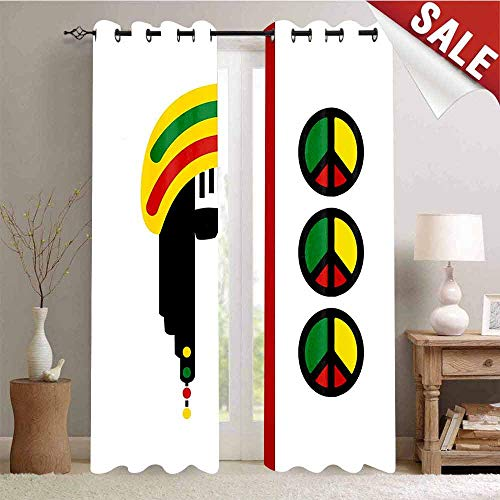 Silk Inspired Peace Top (Hengshu Thermal Insulating Blackout Curtain Abstract Minimalist Rastaman with Peace Symbols Caribbean Culture Inspired Print Blackout Draperies for Bedroom W96 x L108 Inch Multicolor)
