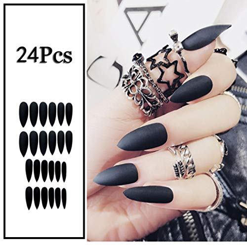 (Sethexy 24Pcs Solid Color Matte Sharp False Nails Frosted Fashion Stiletto Full Cover Long Acrylic Claw Fake Nails for Women and Girls (Black))