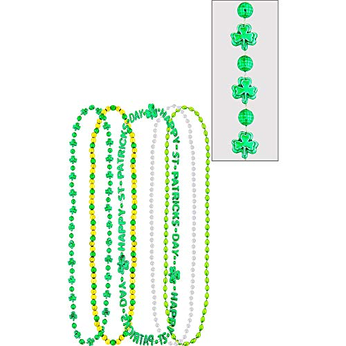 Amscan St. Patrick's Multicolored Plastic Bead Necklaces Pack, 5 Ct. | Party Accessory