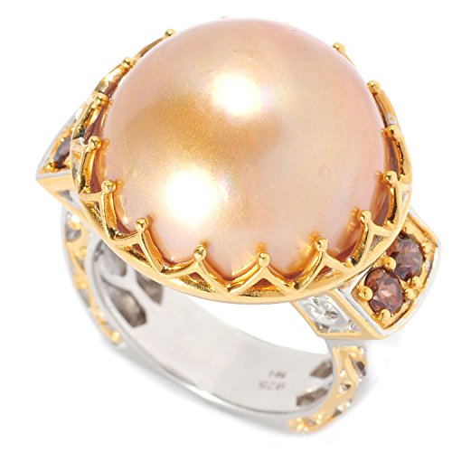 Michael Valitutti Palladium Silver Golden Mabe Cultured Pearl & Mocha Zircon Polished Ring - - Ring Mabe Pearl Gold