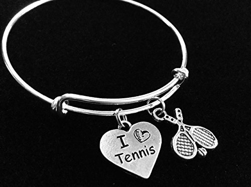 - I Love Tennis Heart with Rackets Expandable Silver Charm Bracelet