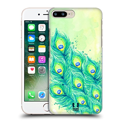 Head Case Designs Blu Verde E Giallo Piume Di Pavone Cover Retro Rigida per Apple iPhone 7 Plus / 8 Plus