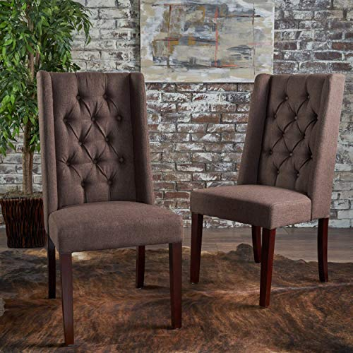 Christopher Knight Home Billings Tufted Dark Brown Fabric Dining Chairs (Set of 2)