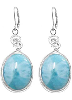 oval gemstone blue larimar silver dangle d earrings