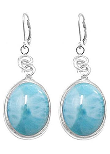 Sterling Silver Oval Larimar Earrings with Hinged Clasp BTS-NEA3054 LR R