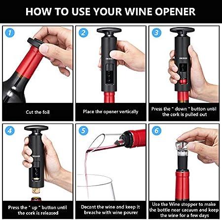 EWCOVER Juegos de regalo de abridor de vino, mini sacacorchos de vino autotirante, tapón de botella de vino de bombeo al vacío, vertedor y cortador de papel de aluminio