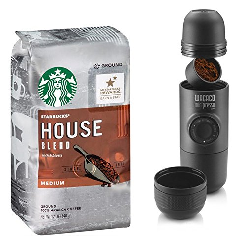 Starbucks Coffee Ground - House Blend Medium Roasted - With Portable Espresso Coffee Maker - For Powdered Whole Beans - Gift To Friends & Family Or Treat Yourself