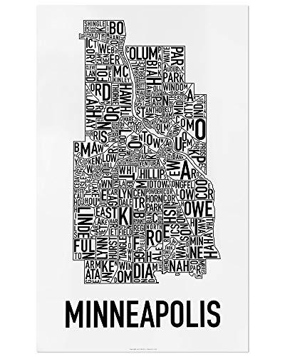 "Minneapolis Neighborhoods Map Art Poster, Black & White, 16"" x 26"""