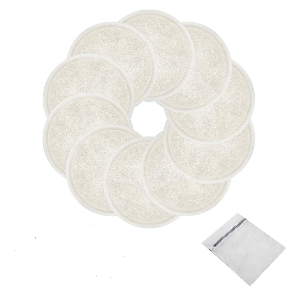 Reusable Makeup Remover Pads 10 Pcs 2-Layer 3.15 inch white Washable Eco-friendly Natural Organic Bamboo Cotton Round Pads with Laundry Bag Soft Facial Cleansing Cloths Toner Pads Towel Wipe for Face