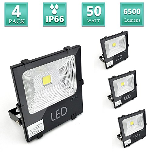 50W Super Bright Outdoor LED Flood Lights, 300W Halogen Bulb Equivalent, 6500lm, Warm White 2700K, Security Lights, IP66 Waterproof Floodlight,Family Garden, Sports Ground, Square, UL listed-4 Pack