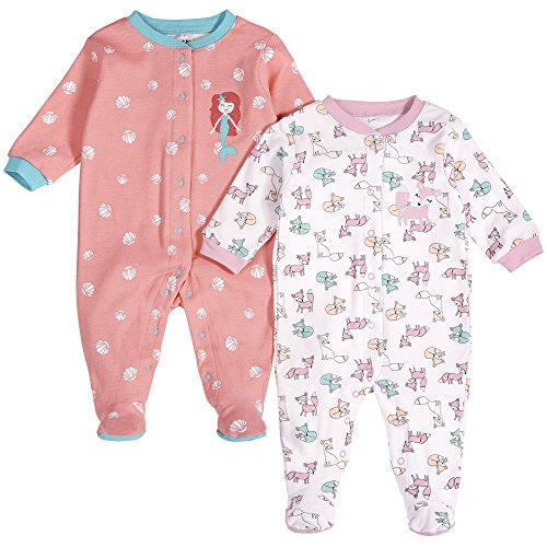 Footed Front Sleeper Snap (Pekkle Baby 2-Pack Footed Sleeper, Snap, Sleep & Play Onesie Unisex Pajamas (3m - 6m - 9m))