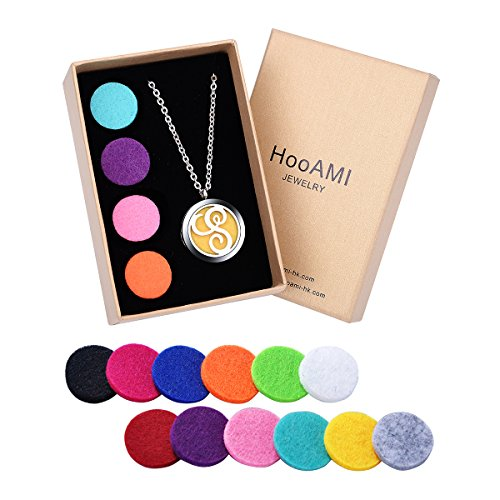 Friends Magnetic Alphabet Letter - HooAMI Essential Oil Diffuser Necklace Aromatherapy Jewelry Gift Set - Monogram Initial Letter S Locket Pendant,24