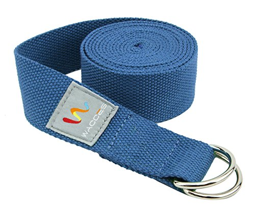 Wacces D-Ring Buckle Cotton Yoga Straps Bands - Best for Stretching - ( 8 ft - Blue )