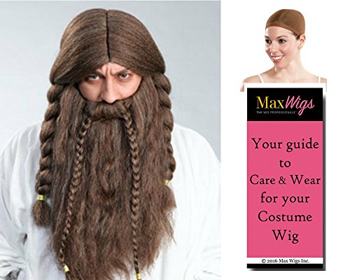 Bundle 3 items: Olef Viking Set Hobbit Enigma Wigs, Mixed Brown, Wig Cap, MaxWigs Costume Wig Care Guide