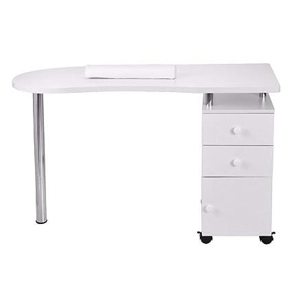 Mesa de manicura de madera con mesa de uñas, mesa de uñas móvil profesional mesa de salón de belleza con reposamuñecas, 2 cajones y 1 mesa de barra de ...