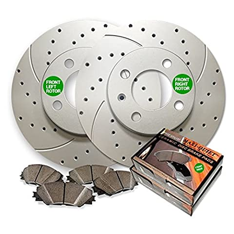 Maxim Brakes Direct Front Low Dust Ceramic Pads and Premium Drilled and Slotted Brake Rotors MAXMBKG20912DS