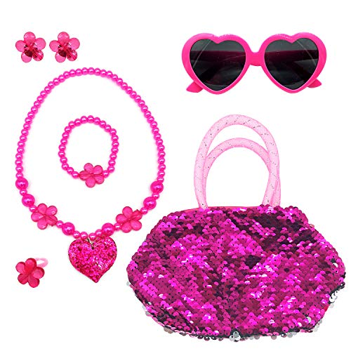 Elesa Miracle Kids Little Girl Toy Playset Sequins Handbag + Heart Sunglasses + Necklace Bracelet and Clip on Earrings Set, Hot Pink