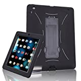 HDE Heavy Duty iPad Shock Proof Case for Kids - Silicone Bumper Skin Hard Protector Cover Shell with Kick Stand for Apple iPad 2/3/4 (Black Trim)