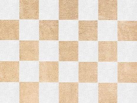Aratextil. Alfombra Infantil 100% Algodón lavable en lavadora Colección Damero Beige 120x160 cms: Amazon.es: Bebé