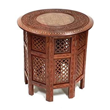 Beautiful Round Brown 21u0026quot; Sheesham Wood Side Table   Brass Inlay, Hand  Carved Indian